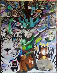 現代童画展 入選作品「聖なる木」🍃🌿❄